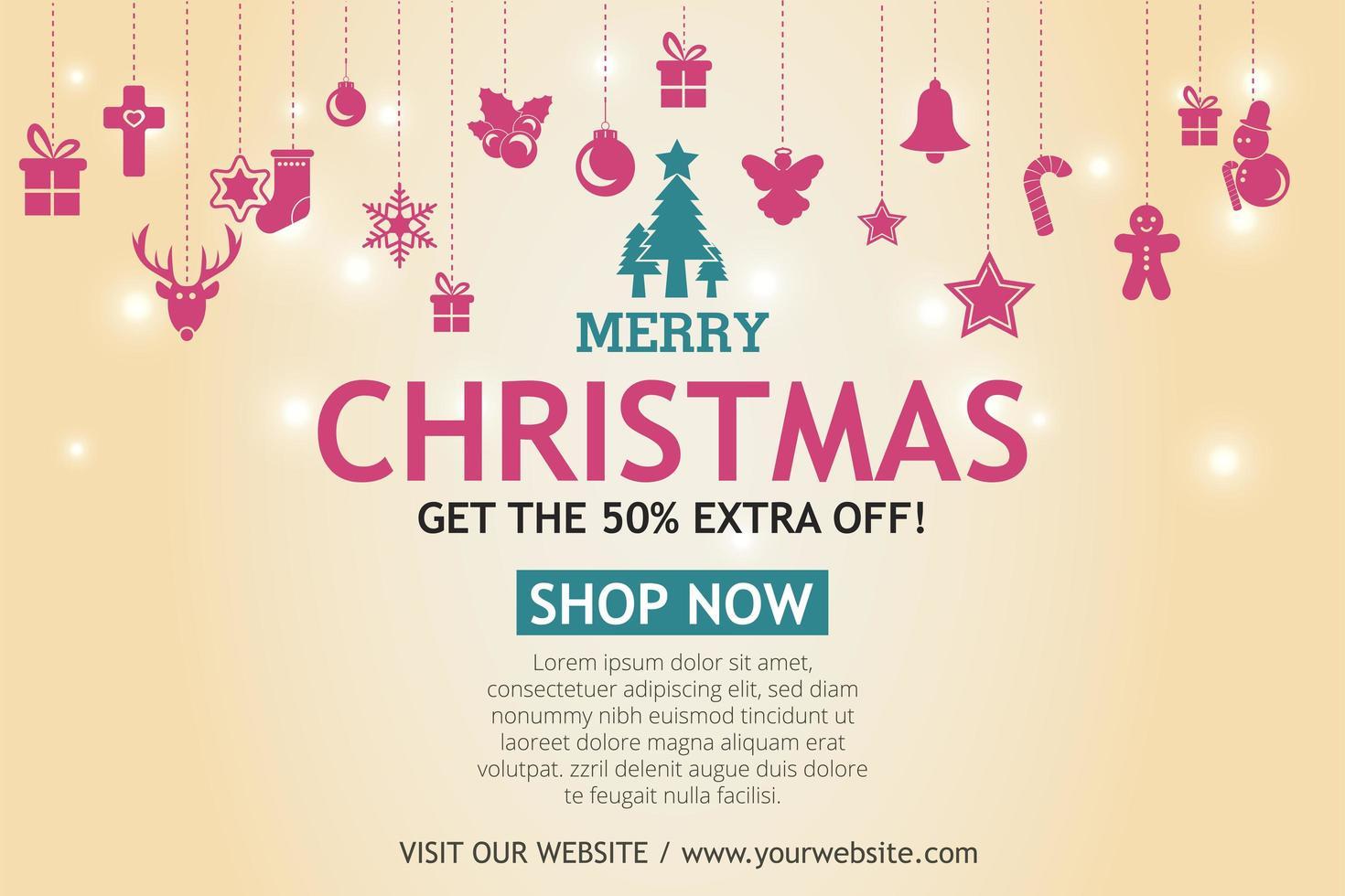 jul försäljning banner på ljus bakgrund. sms god jul butik nu. vektor