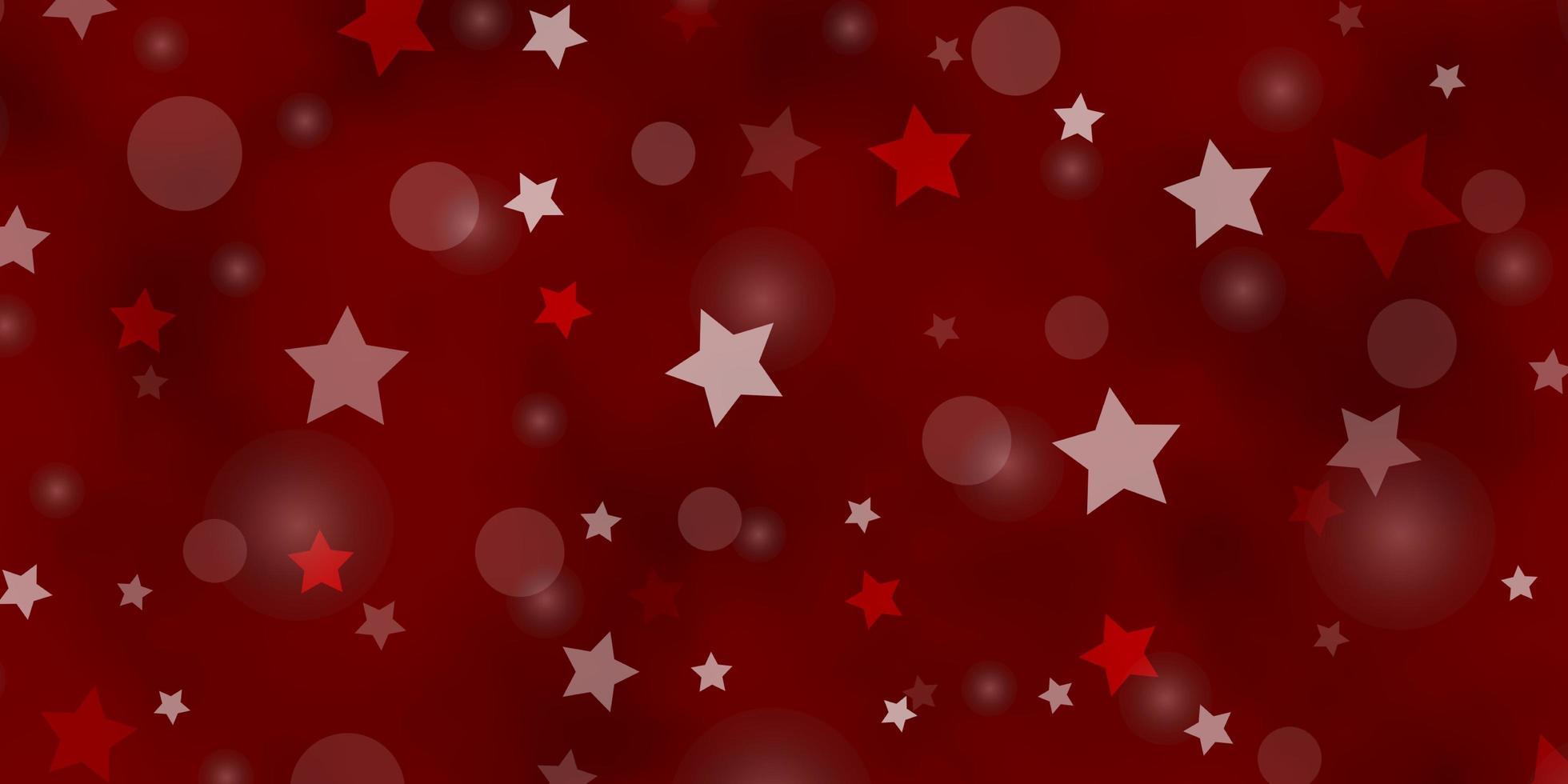 hellorange Vektorschablone mit Kreisen, Sternen. vektor