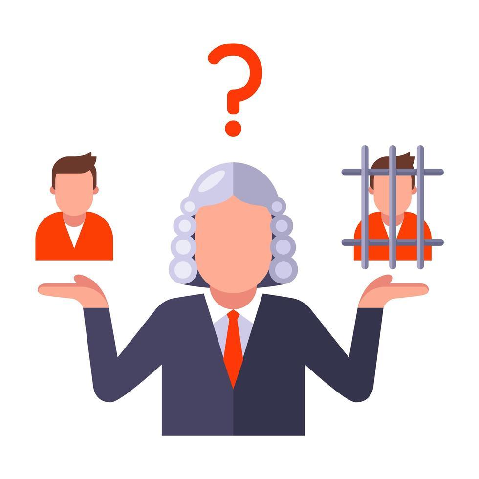en domare som beslutar om personens skuld vektor