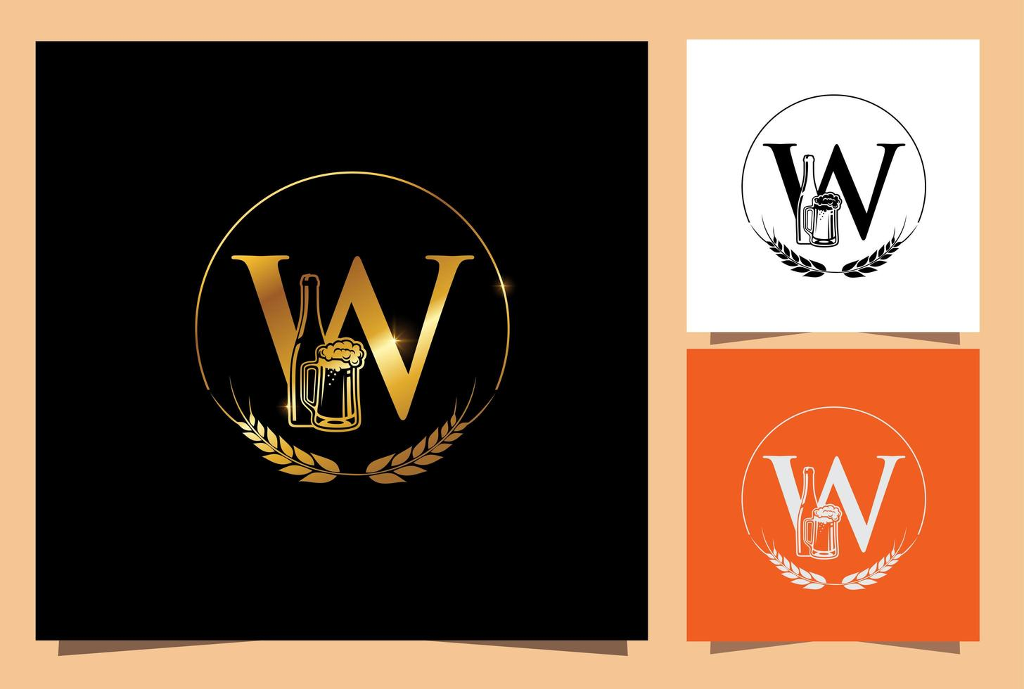 guldglas och flaska öl monogram bokstaven w vektor