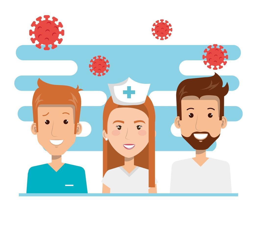 hedvårdspersonal med koronavirusikoner vektor