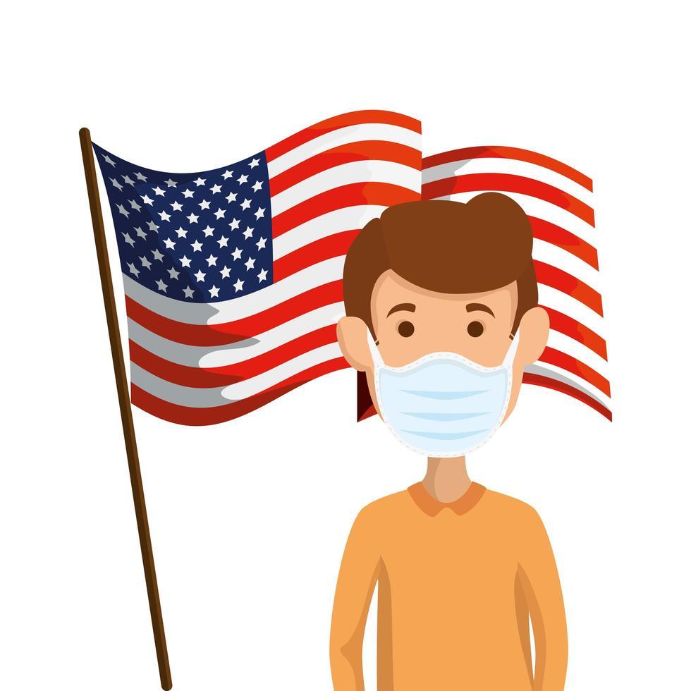 USA-flagga och koronavirusförebyggande kampanj vektor