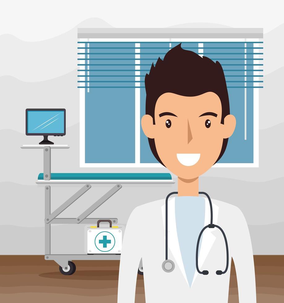 läkare med stetoskop i konsultrummet vektor