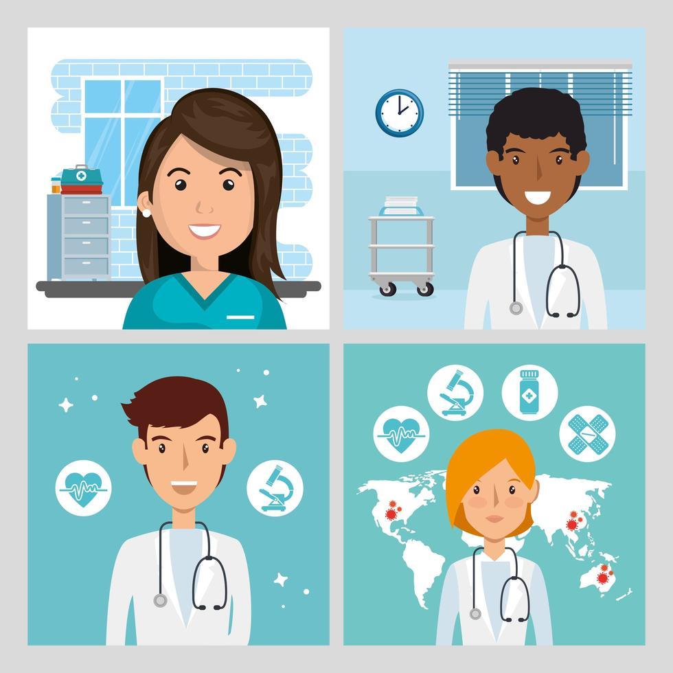 scener för läkare och sjukvårdare vektor