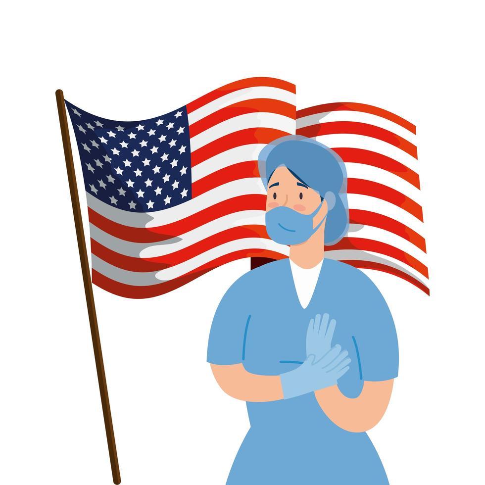 hälsoarbetare med ansiktsmask och usa flagga vektor