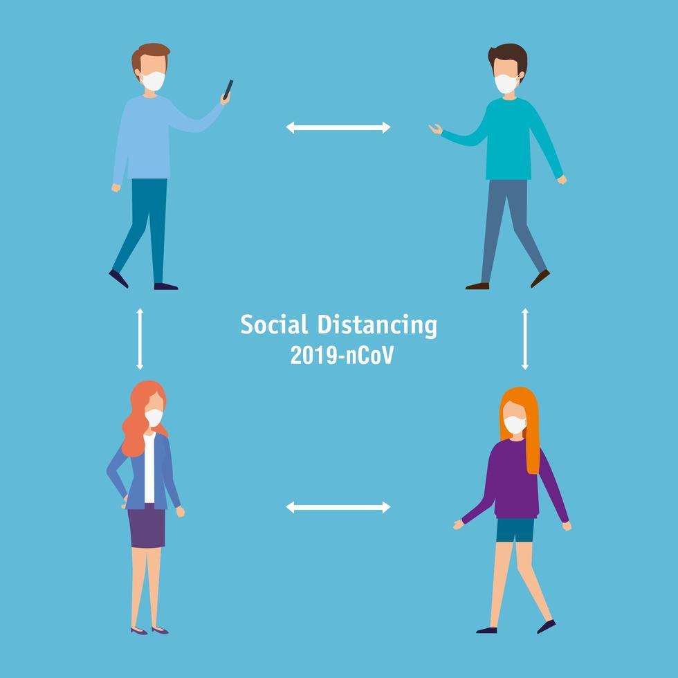 social distanskampanj för förebyggande av koronavirus vektor