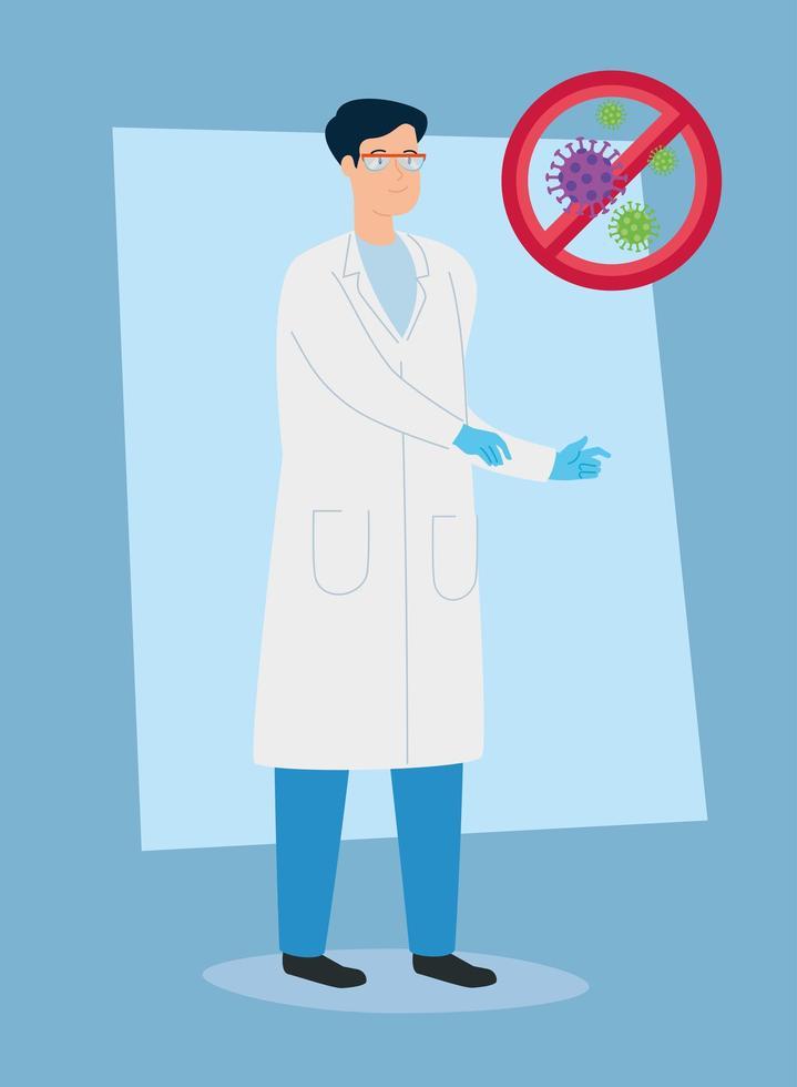 läkare står och stoppa coronavirus spridning tecken vektor
