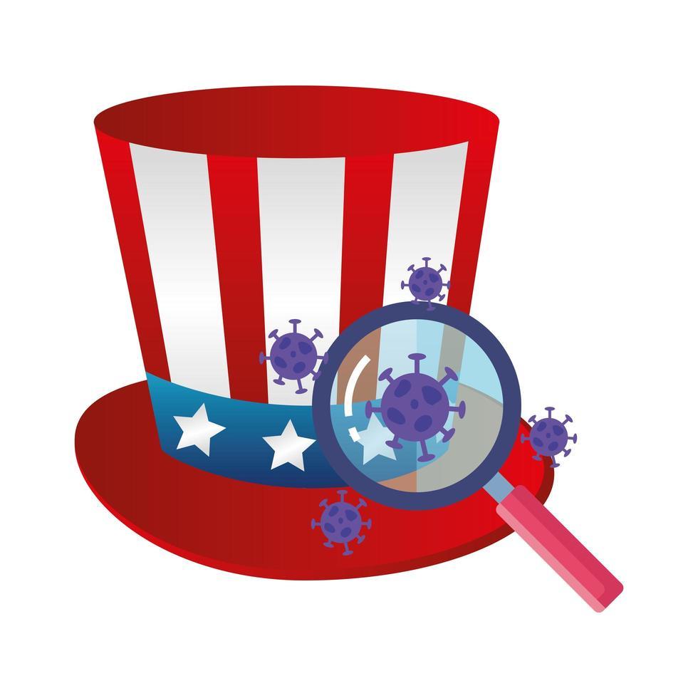 USA top hat och coronavirus förebyggande kampanj vektor