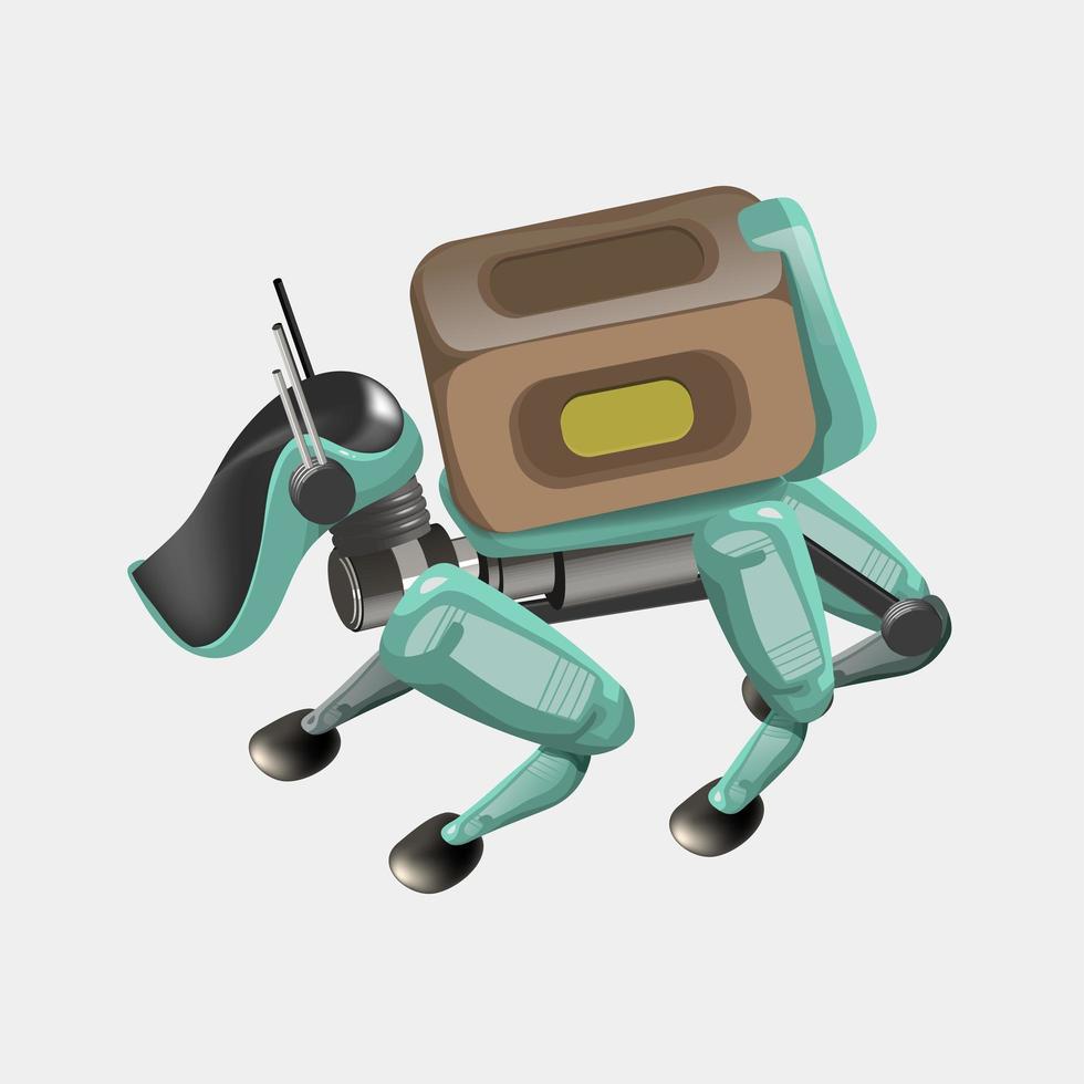 moderna robotleveransmetoder. robothund med låda. koncept för teknisk transportinnovation. modern vektorillustration. isolerat vektor