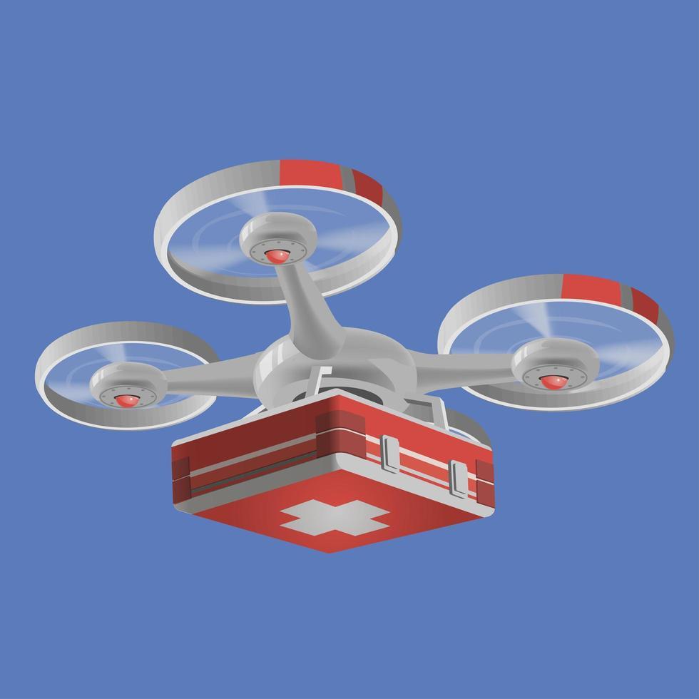 leverans medicinsk drönare med rött medicinskt kit. drone vektorillustration grafisk design. moderna robotleveransmetoder. isolerat vektor