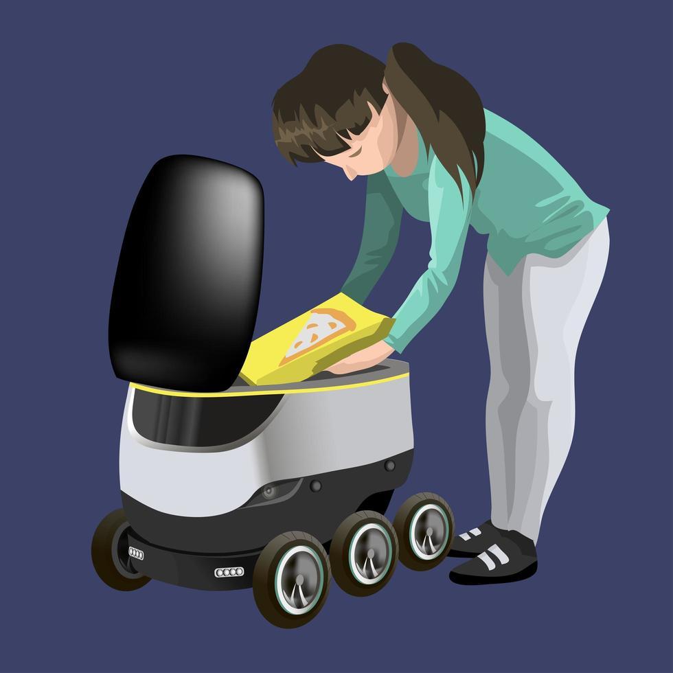 moderna robotleveransmetoder. tjej får ut pizza av roboten självkör snabb leveransvaror i staden. koncept för teknisk transportinnovation. modern vektorillustration. isolerat vektor