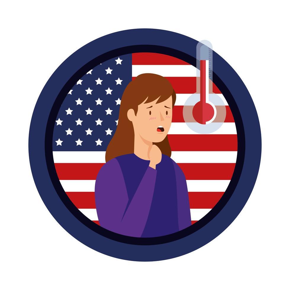 usa flagga med ung kvinna sjuk av covid-19 vektor