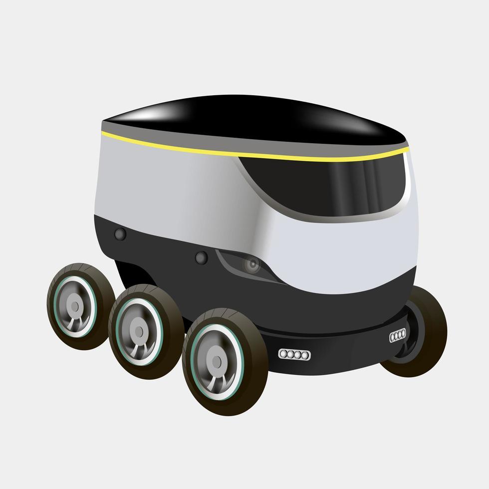 moderna robotleveransmetoder. robot kör själv leveransvaror i staden. koncept för teknisk transportinnovation. modern vektorillustration. isolerat vektor