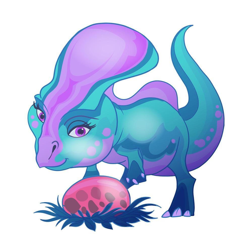 söt baby dinosaurie som leker med ägg vektor