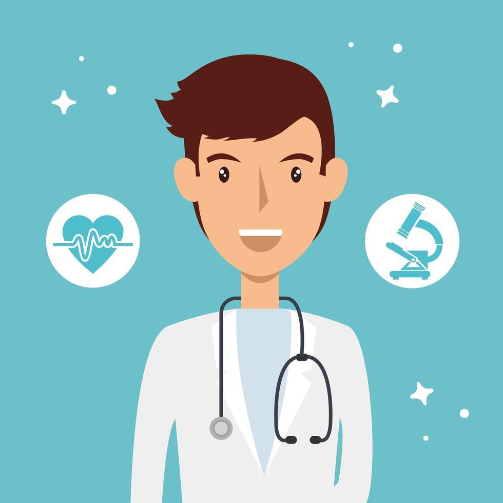 läkare med medicinska ikoner vektor
