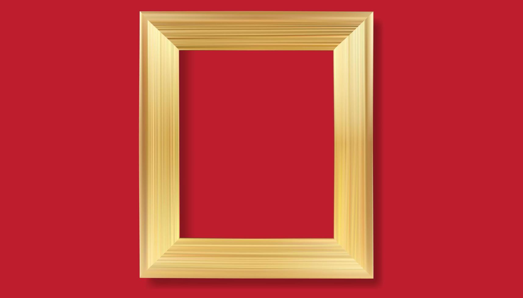 guld ram på röd bakgrund. vektor realistiska isolerade gyllene glänsande glödande ram ram.