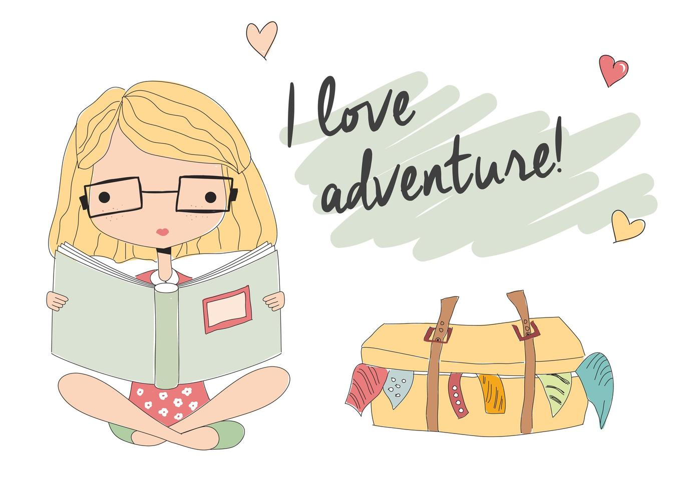 ung flicka med glasögon som läser en bok, packad resväska vektor