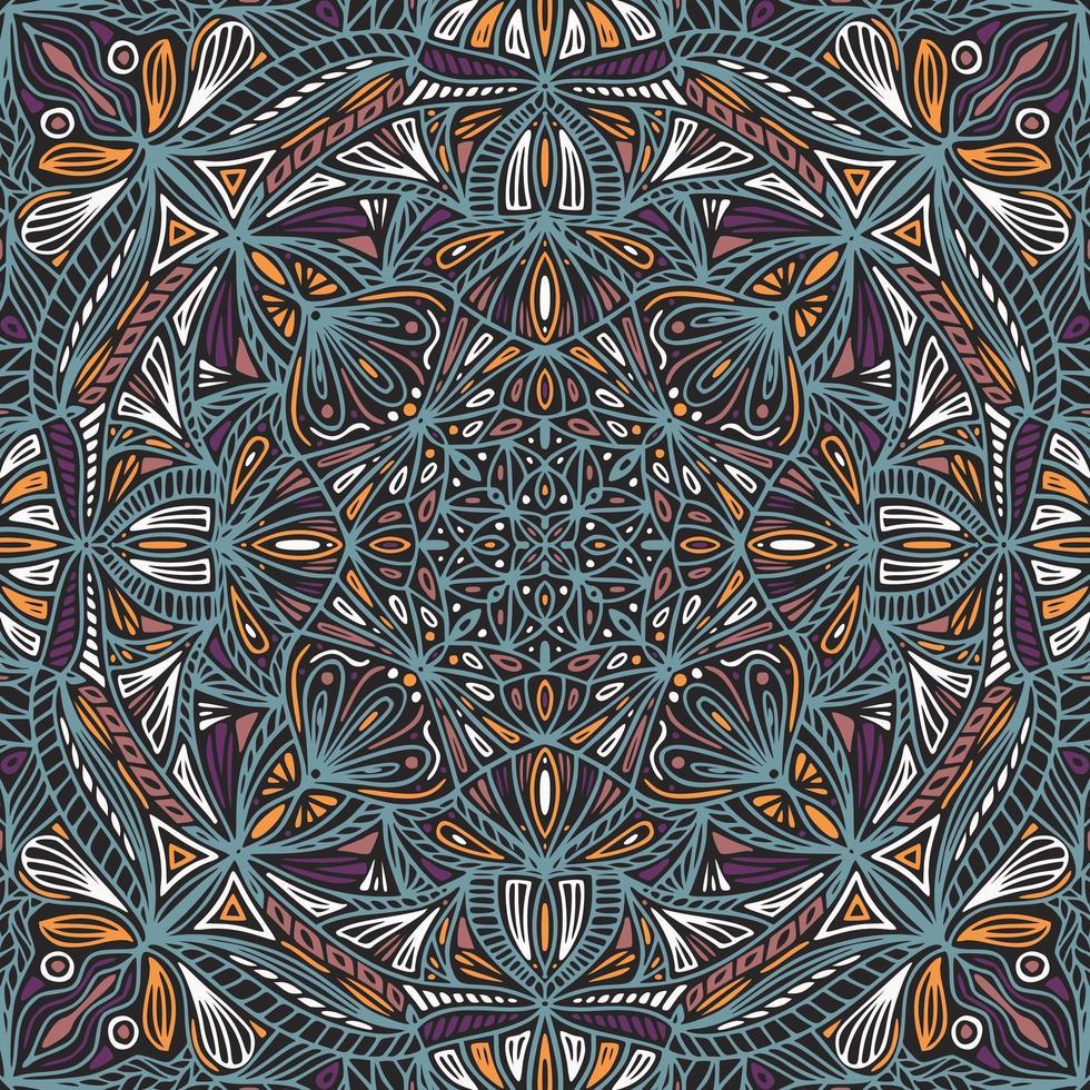 färgglad dekorativ blommig etnisk mandala vektor
