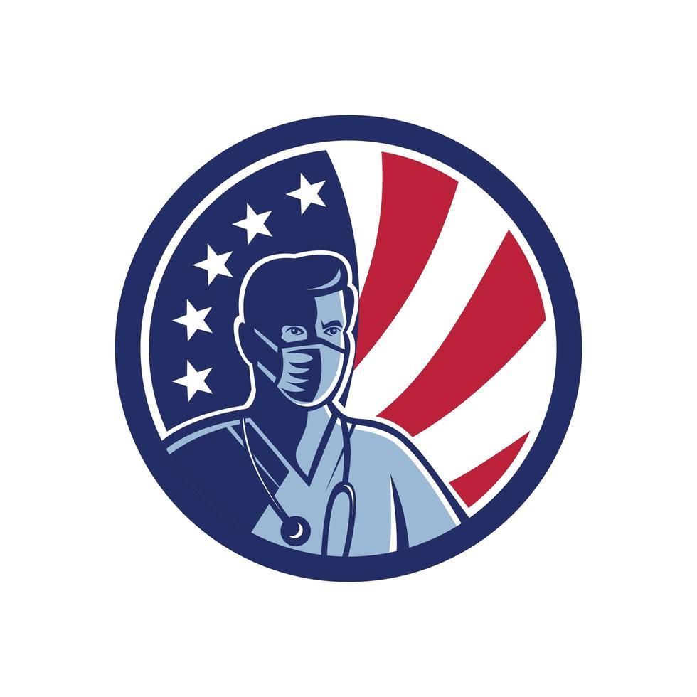 männliche Krankenschwester, die chirurgische Maske USA-Flaggenmaskottchen trägt vektor