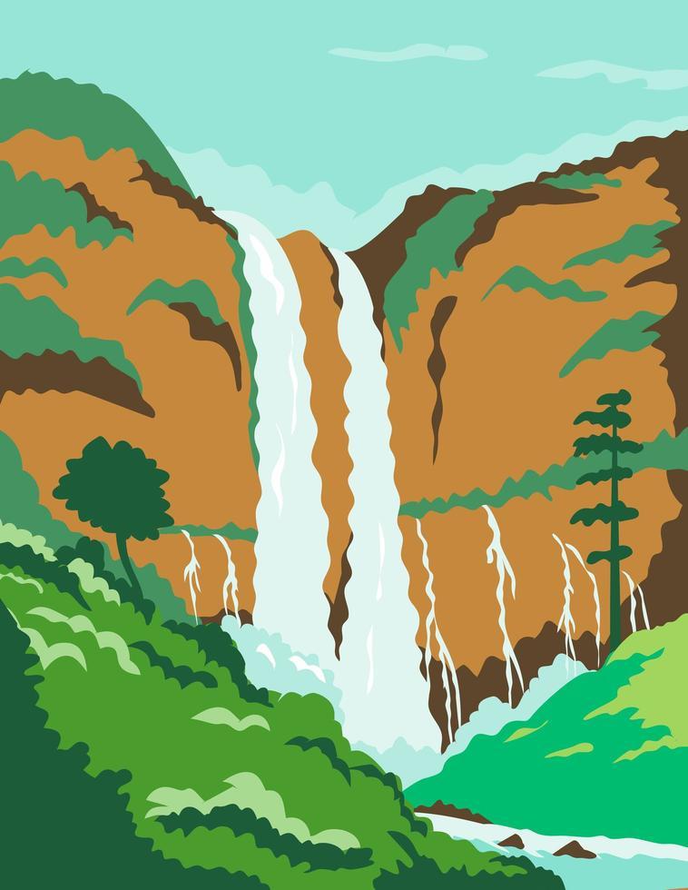 Zwillingswasserfälle in der Plakatkunst der Philippinen vektor