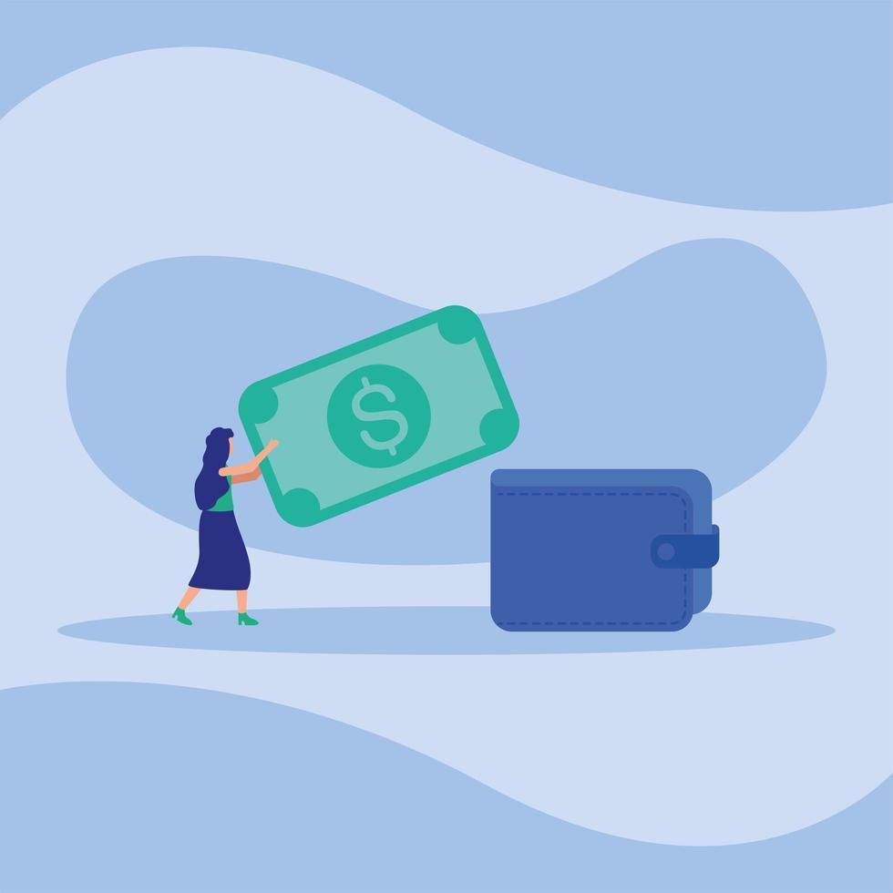 Frau Avatar mit Rechnung und Brieftasche Vektor-Design vektor