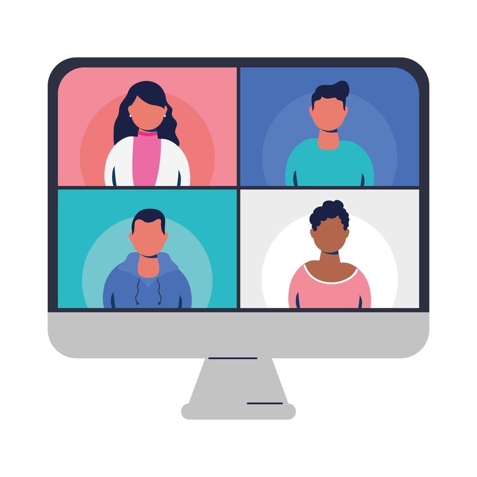 människor på webbplatser i videochatt vid datorvektordesign vektor
