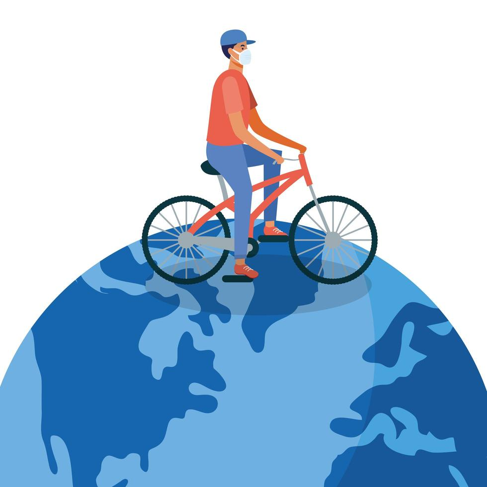 Mann mit medizinischer Maske mit Fahrrad auf Weltvektordesign vektor
