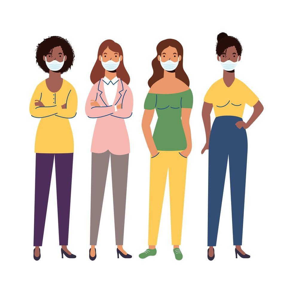 kvinnor med medicinska masker vektordesign vektor