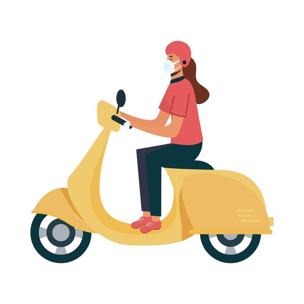 isolerad leveranskvinna med mask på motorcykelvektordesign vektor