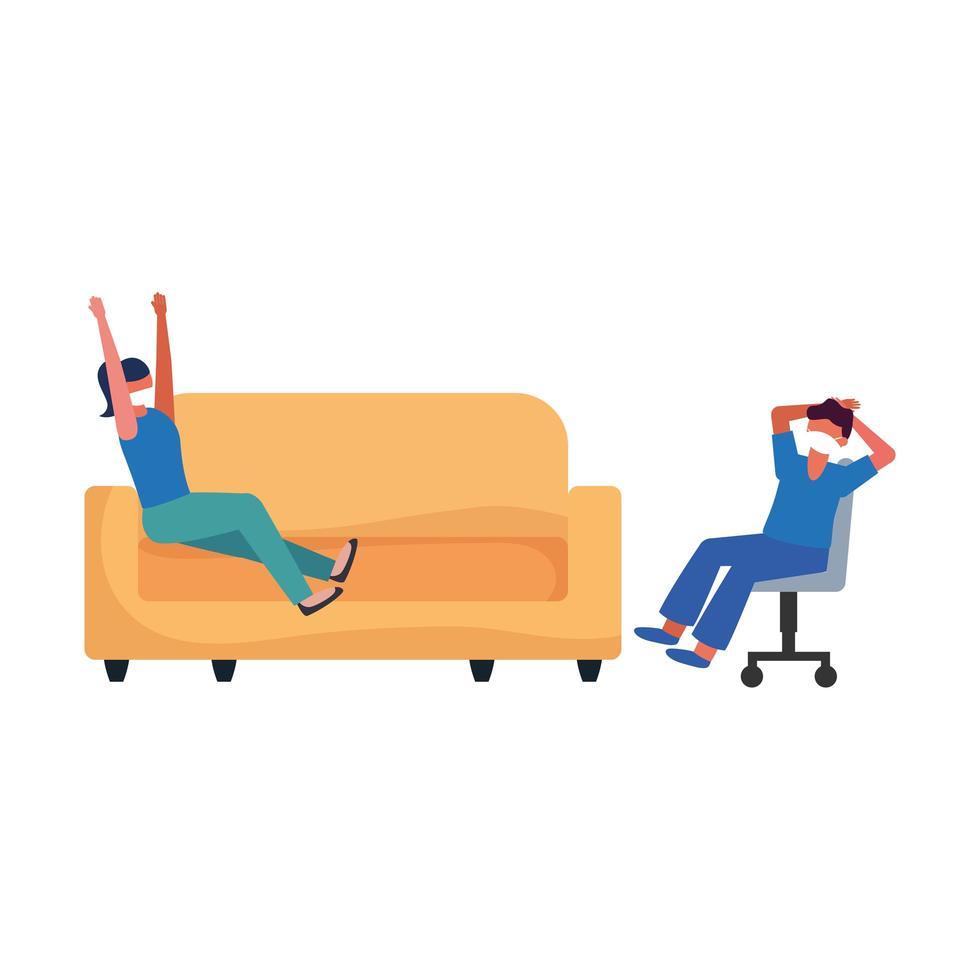 kvinna och man med mask på soffan och stolens vektordesign vektor
