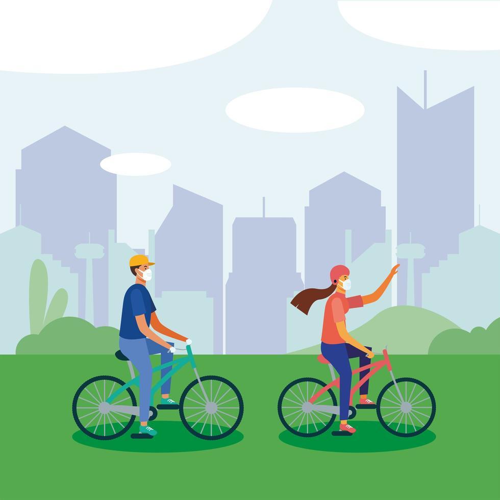 Mann und Frau mit medizinischer Maske auf Fahrradvektorentwurf vektor