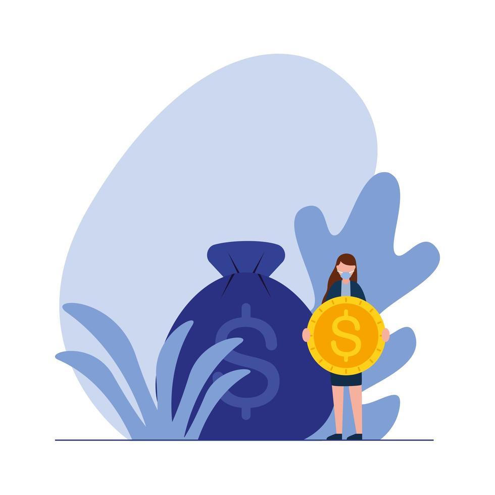 kvinna avatar med mynt och väska vektor design