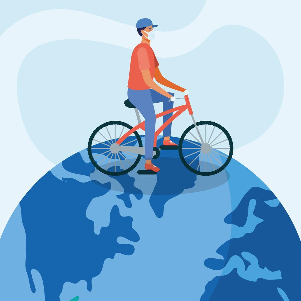 Mann mit medizinischer Maske und Fahrrad auf Weltvektordesign vektor