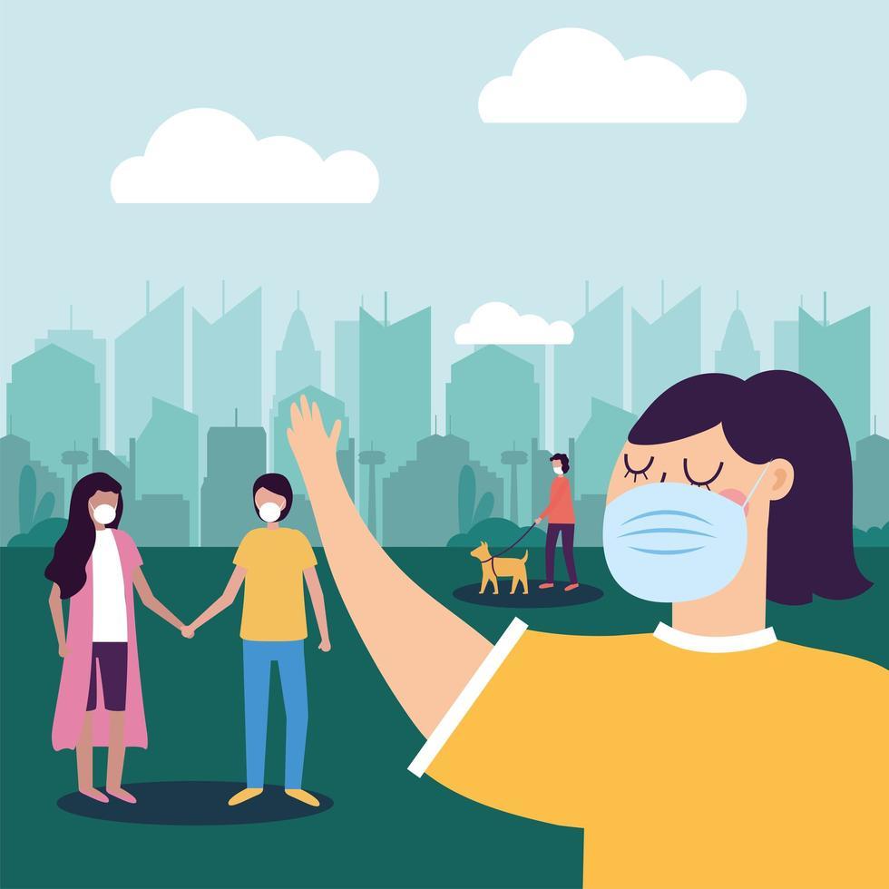 kvinna med mask vid stadsvektordesign vektor