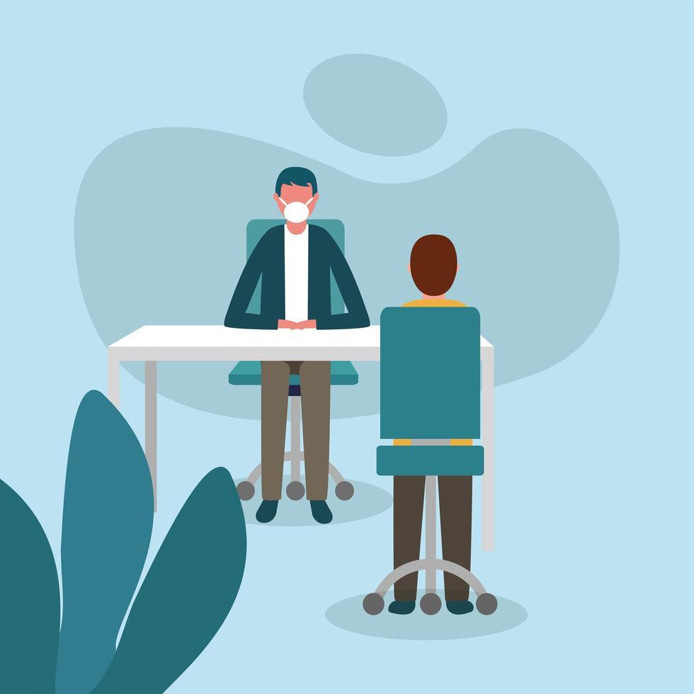 kontor distanserar mellan män med masker på skrivbordet vektor design