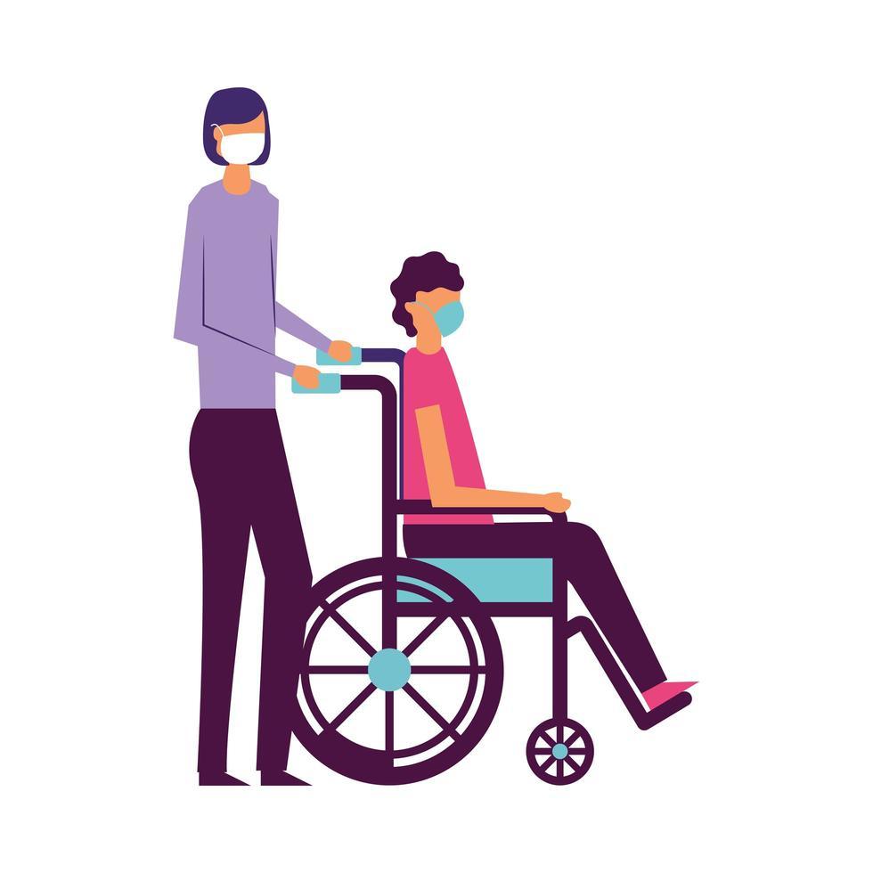 Mann und Junge im Rollstuhl mit medizinischem Maskenvektordesign vektor