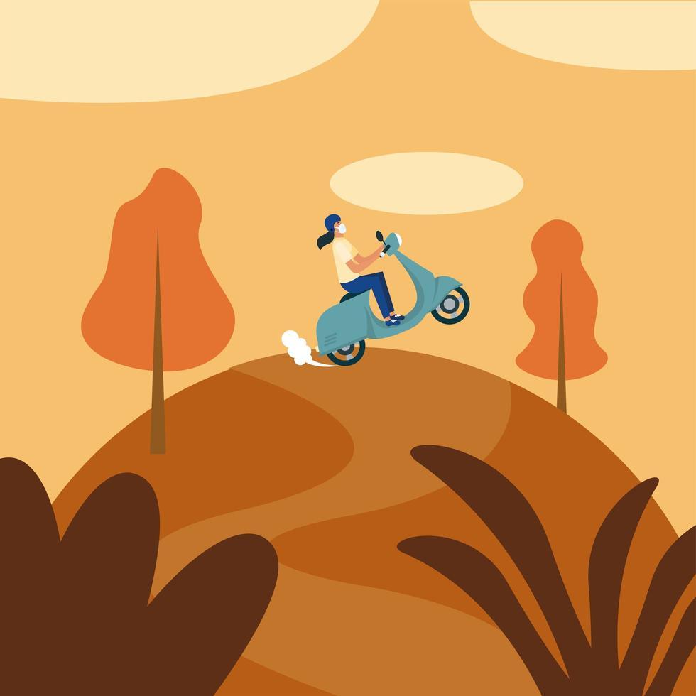 kvinna med medicinsk mask och motorcykel på bergsvektordesign vektor