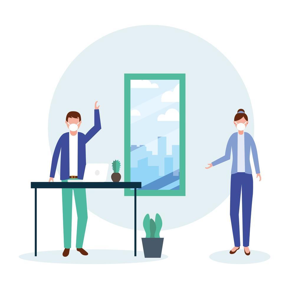 kontor distanserar mellan man och kvinna med mask och bordsvektordesign vektor