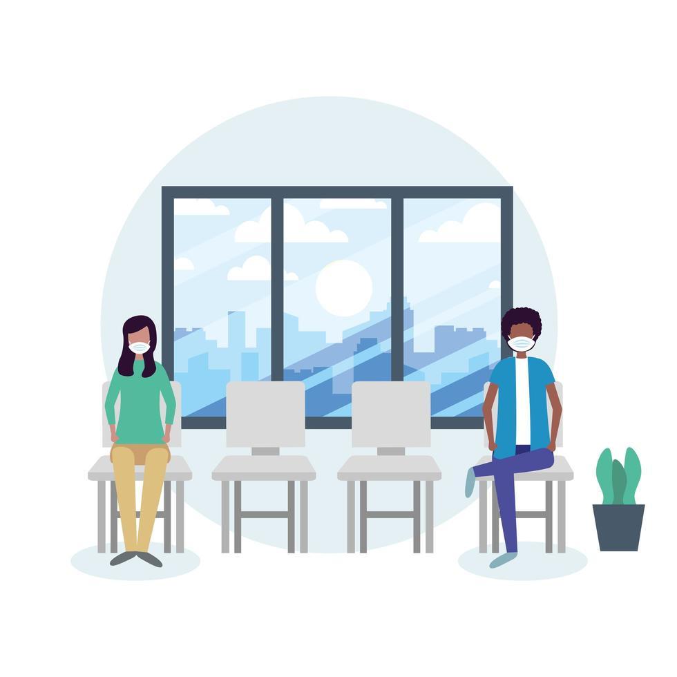 kontor distanserar mellan man och kvinna med mask på stol vektor design