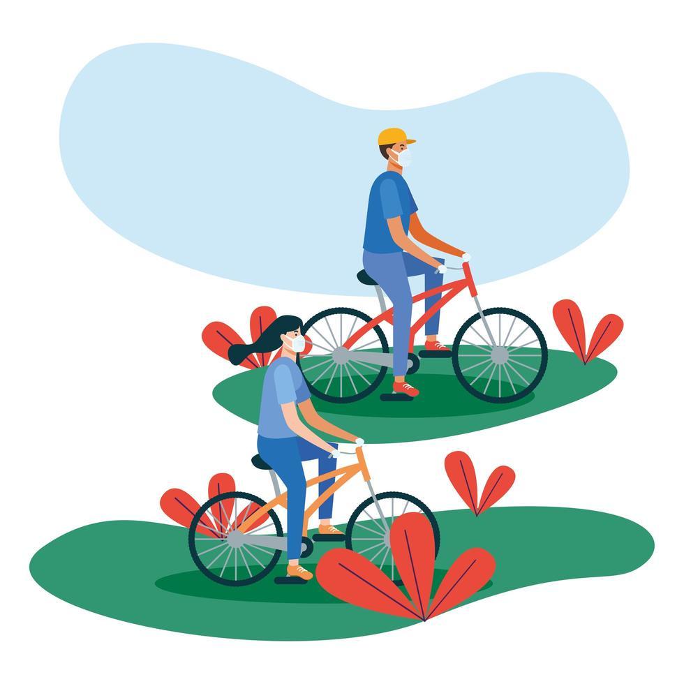 Mann und Frau mit Masken auf Fahrrädern vektor