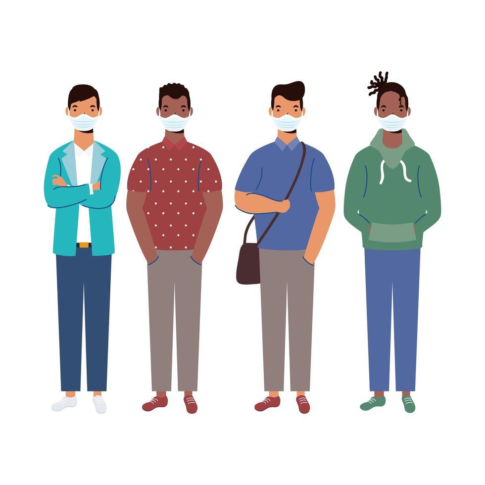 män med medicinska masker vektordesign vektor