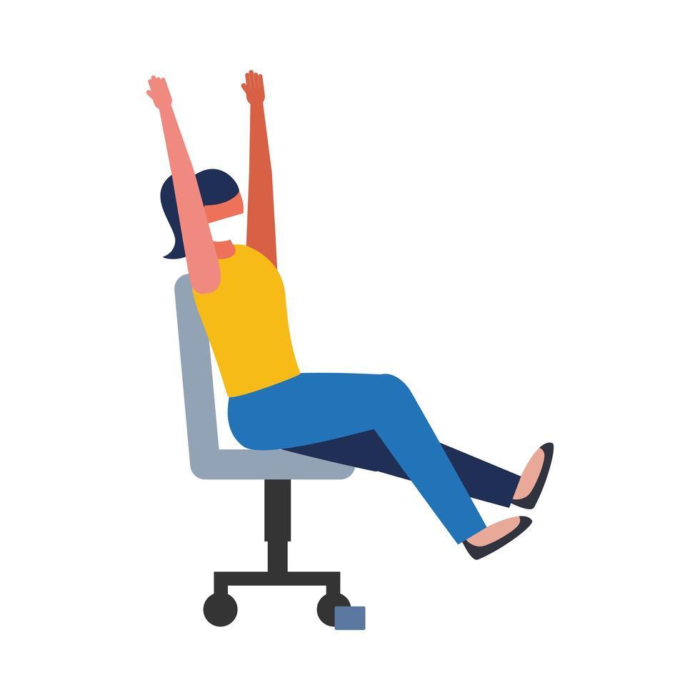 Frau mit medizinischer Maske auf Stuhlvektorentwurf vektor