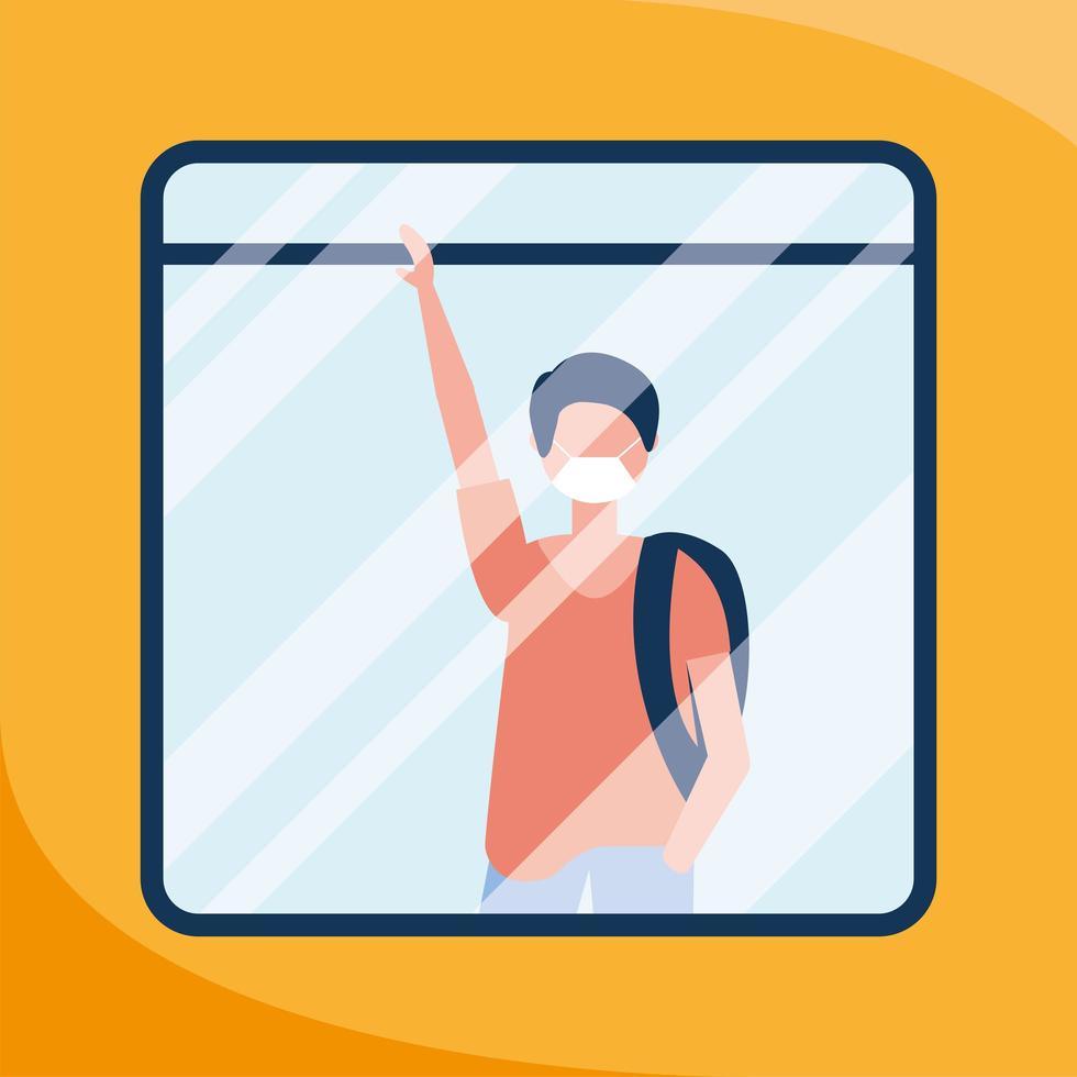 Mann mit medizinischer Maske am Busfenstervektorentwurf vektor