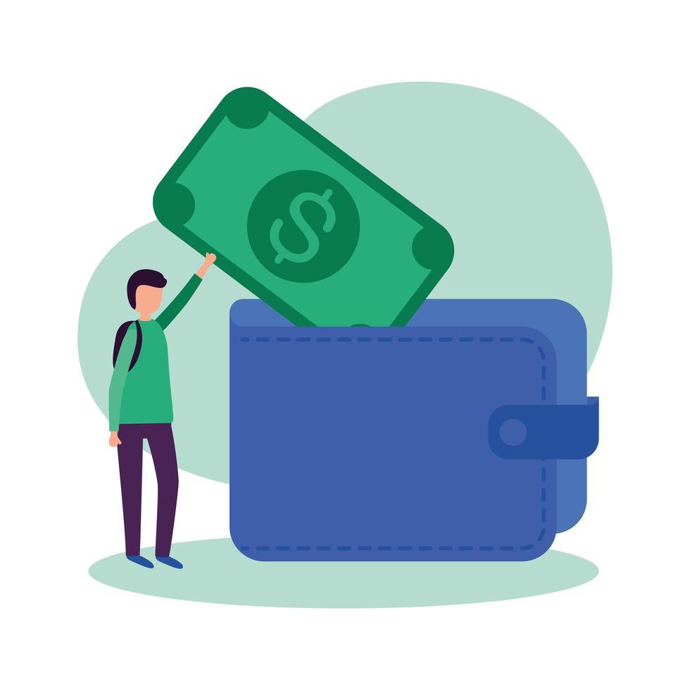 Mann Avatar mit Rechnung und Brieftasche Vektor-Design vektor