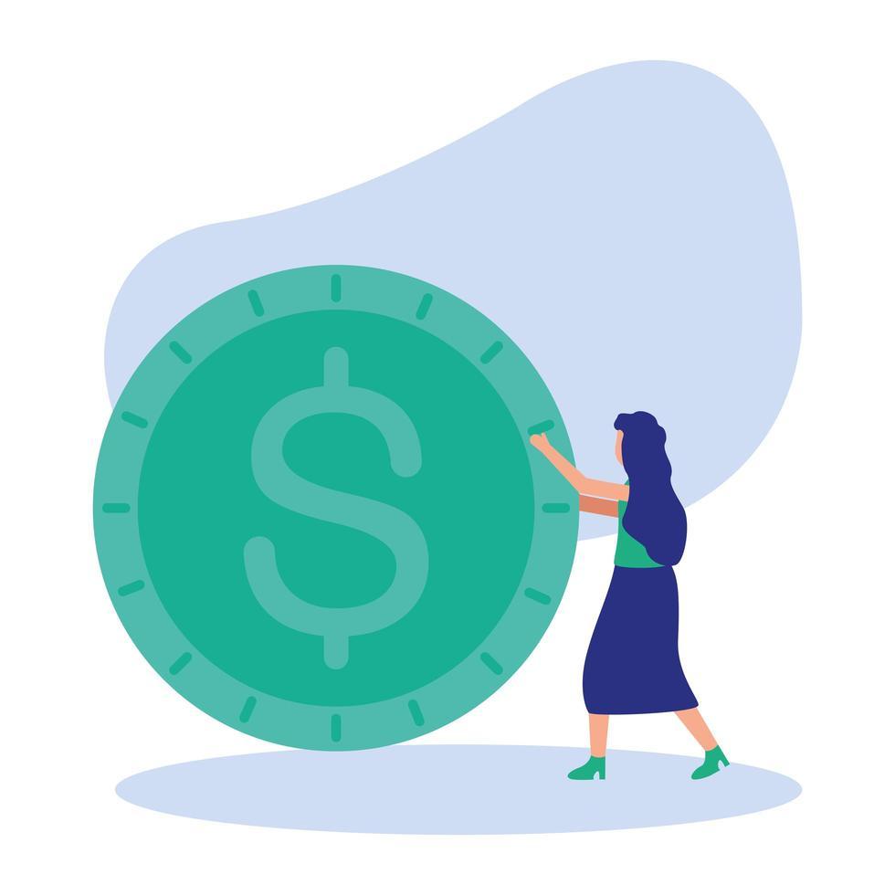 isolierter Frauenavatar mit Münzvektorentwurf vektor