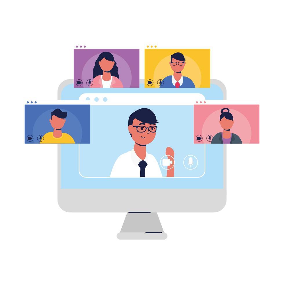 manavatar på bärbar dator och människor i videochattvektordesign vektor