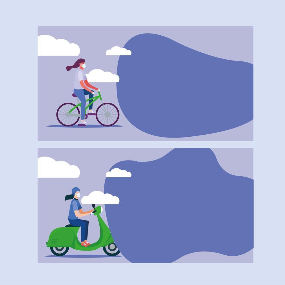 Frauen mit Masken auf Fahrrad- und Motorradvektorentwurf vektor