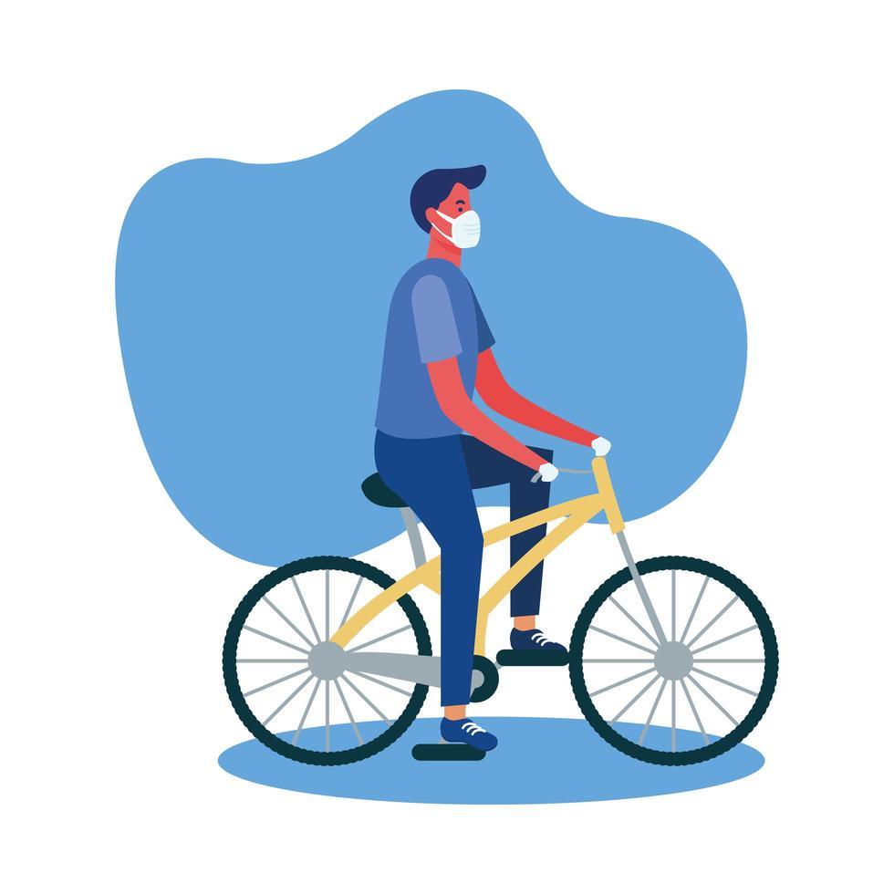 Mann mit medizinischer Maske auf Fahrradvektorentwurf vektor