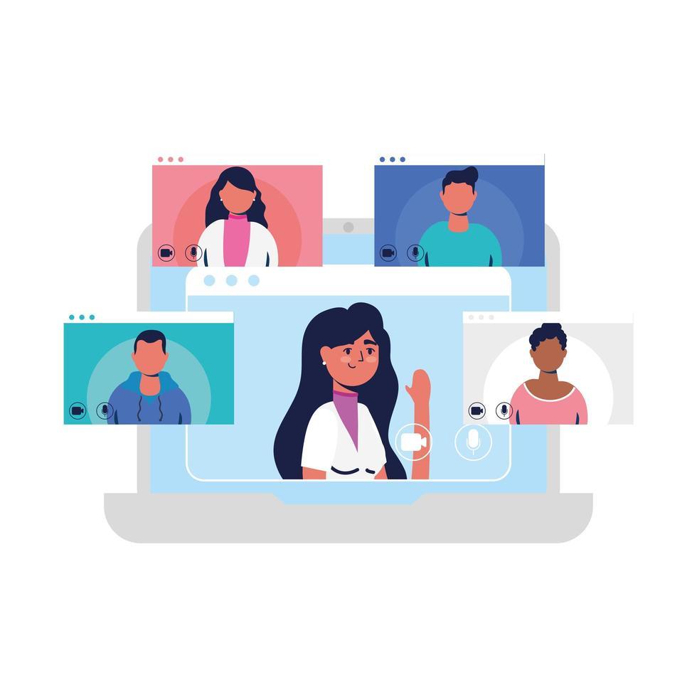 kvinnavatar på bärbar dator och människor i videochattvektordesign vektor