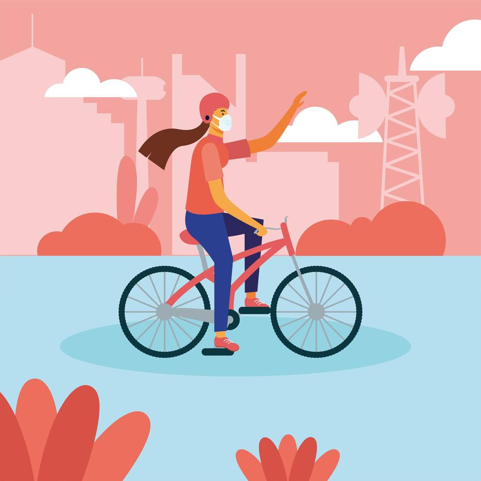 Frau mit medizinischer Maske auf Fahrradvektorentwurf vektor
